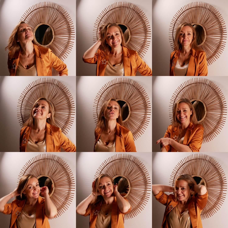 9 photos de Julie, style polaroid, spontanée
